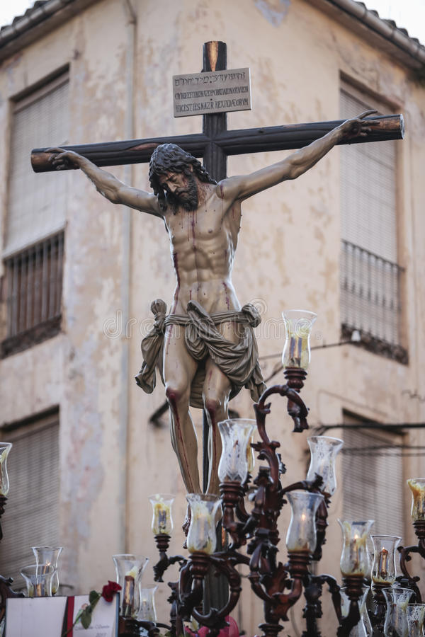 Figure of Jesus on the cross carved in wood by the sculptor Alva. Rez Duarte, Holy Christ of the Estudiantes, Linares, Jaen province, Spain stock image