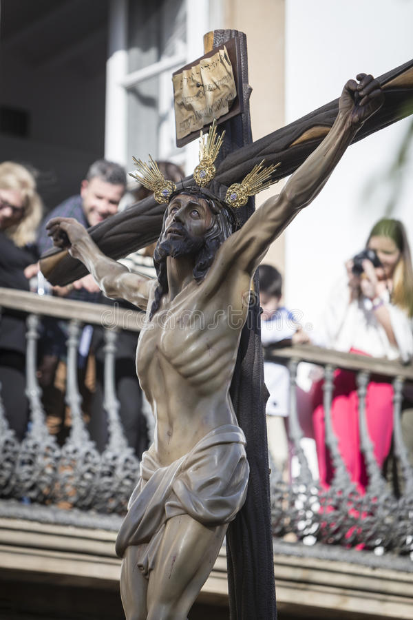 Figure of Jesus on the cross carved in wood by the sculptor Gabino Amaya Guerrero, Holy Christ royalty free stock photo