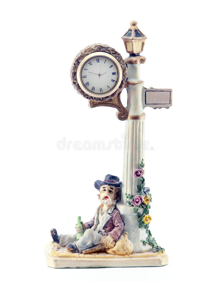 Download Figure Lantern Clock And Drunk Stock Photo - Image: 28923280
