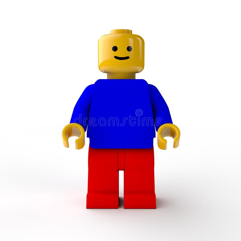 Figure LEGO, the toy. LEGO toy figure, male character. Isolated on white background