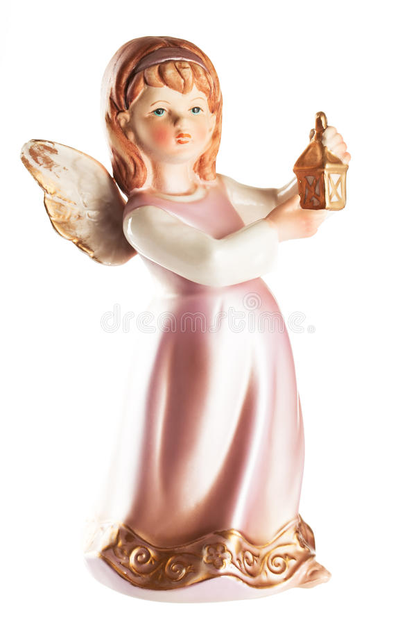 Figure of a little angel with lantern in hands, christmas decoration, isolated on white. Christmas decoration. Figure of a little angel with lantern in hands royalty free stock photos