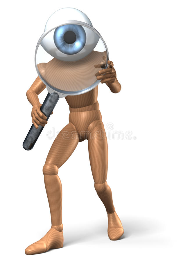 Download Figure Looks Through Magnifying Glass Stock Illustration - Image: 32085846