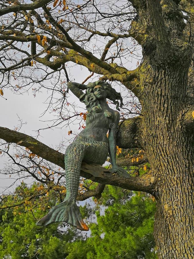 Figure métallique d'une sirène se reposant sur un arbre, automne photographie stock libre de droits