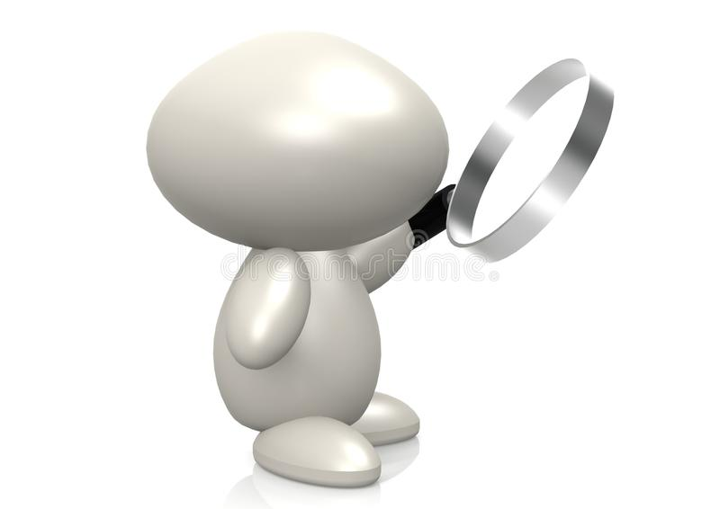 Figure And Magnifying Glass Stock Image