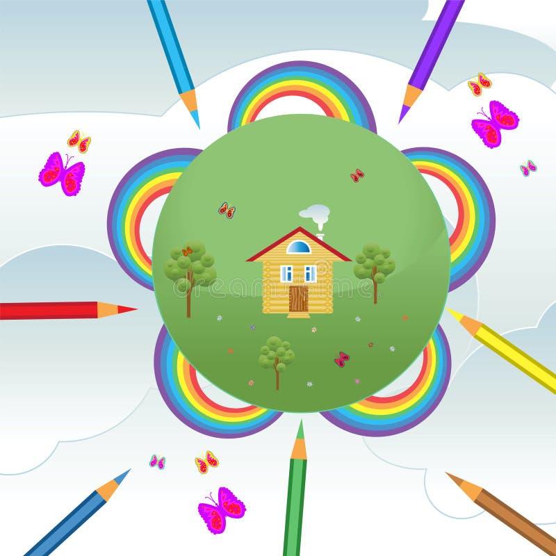 Figure maisons en arcs-en-ciel photo libre de droits