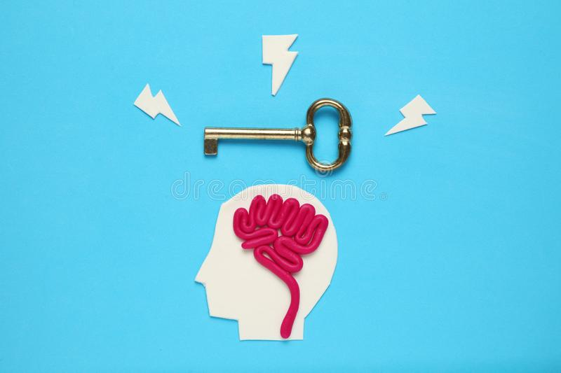 Figure of man and three keys. Business problems and solution royalty free stock photography