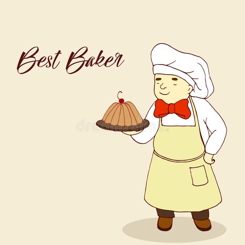 Figure o padeiro, cozendo em uma bandeja, estilo cômico, pasteleiro carnudo ilustração do vetor