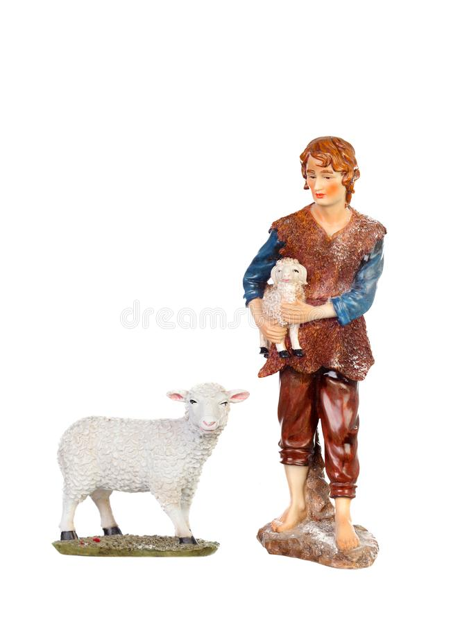 Free Figure Of The Shepherd With A Sheep For The Nativity Portal Stock Photo - 105876610