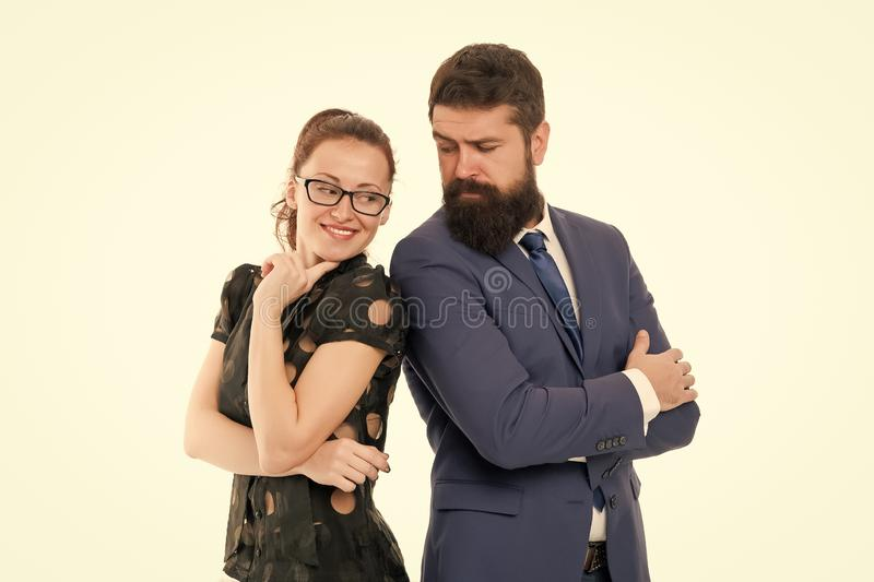 Figure out type of position you would really enjoy. Colleagues looking for new job. Man and woman compete for job. Figure out type of position you would really stock photo