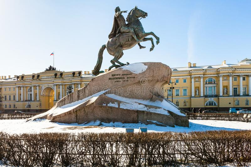 Figure of Peter the Great in the Senate Square. Bronze Horseman figure of Peter the Great in the Senate Square in Saint Petersburg. The monument was built in royalty free stock photography
