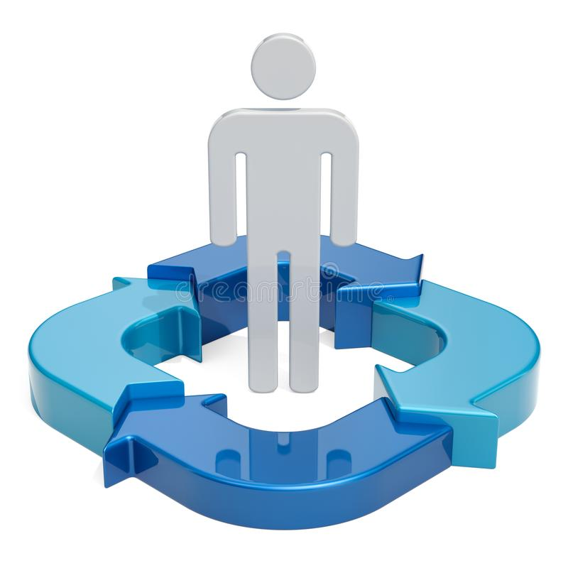 Figure povos com setas azuis, conceito do negócio rendição 3d ilustração royalty free