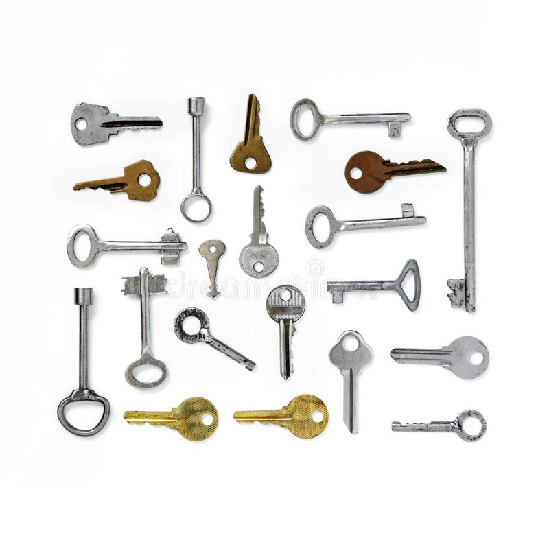 The figure is a rectangle of old keys on white isolated background. Old keys royalty free stock image