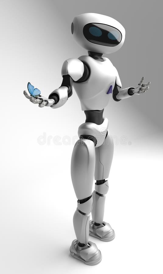 Figure of the robot and butterfliy on a white background stock illustration