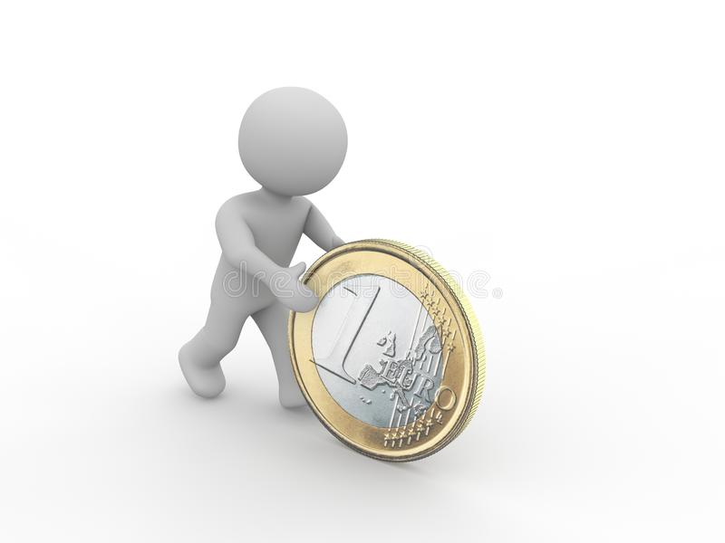 Figure rolling a one euro coin