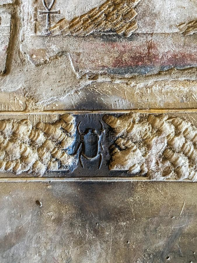 Figure scarab beetle on the wall of the temple of the Pharaohs in Luxor, Egypt. Figure scarab beetle on the wall of the temple of the Pharaohs in Luxor. Egypt royalty free stock photo