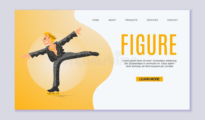 Figure Scating vector web template. Olympic species of skate events. Winter sports games for web, landing pages and vector illustration