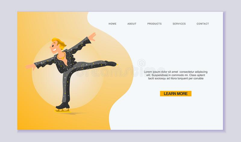 Figure Scating vector web template. Olympic species of skate events. Winter sports games for web, landing pages and stock illustration
