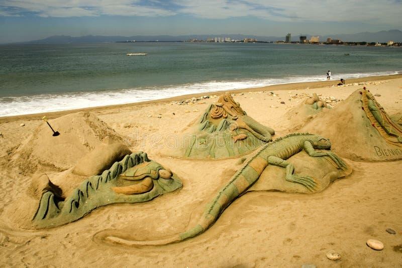 Figure sculpted in sabbia fotografia stock