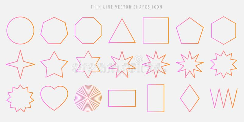 Thin line vector shapes icon set. circle, square, triangle, polygon, star, heart, spiral, rhombus, zigzag outline figures in the p vector illustration