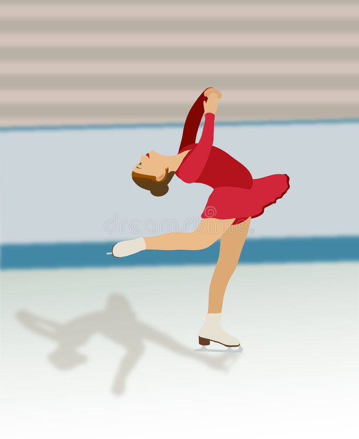 Figure Skater in Red Dress royalty free stock photography