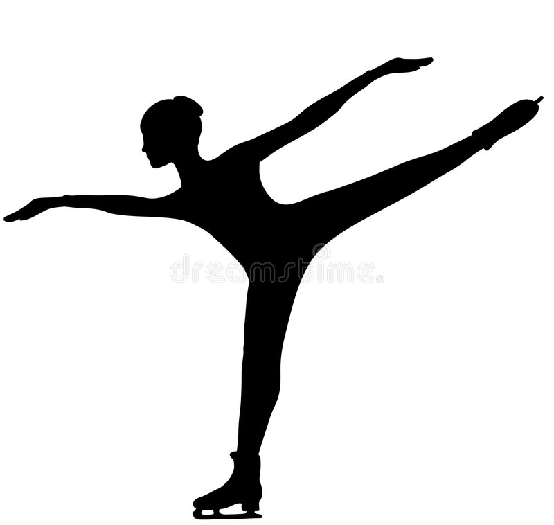 Figure Skater - Silhouette vector illustration