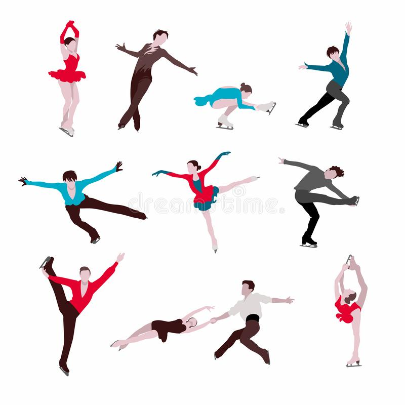 Figure skaters silhouettes. royalty free illustration