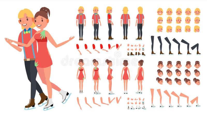 Figure Skating Couple Vector. Woman And Male. Ice Skating. Animated Character Creation Set. Full Length, Front, Side vector illustration