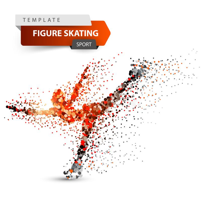Figure skating - dot illustration. Sport template. stock illustration