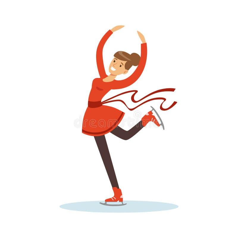 Figure skating girl training on the ice, active sport lifestyle vector Illustration stock illustration