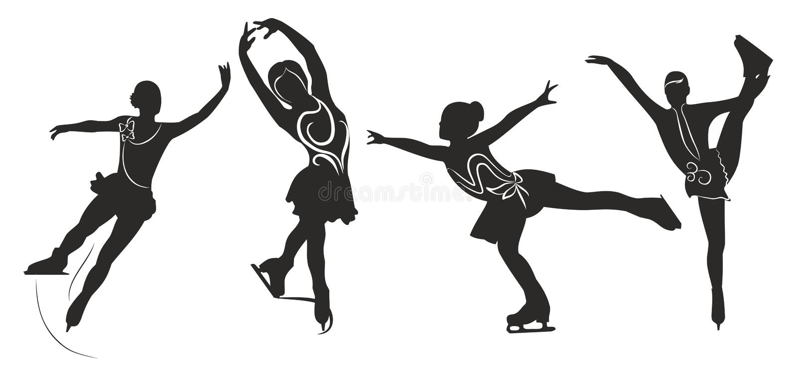 Dynamic Sports Figures Silhouette: Figure Skating Stock Vector. Illustration Of Sport, Skates