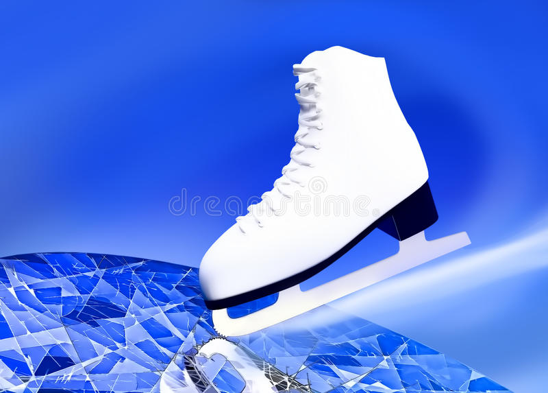 Figure skating, sports. Figure skating. The figure skater's skate on ice royalty free stock photo