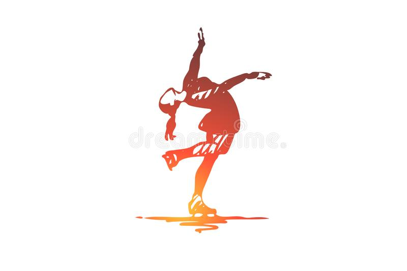 Figure, skating, woman, sport, ice concept. Hand drawn isolated vector. stock illustration