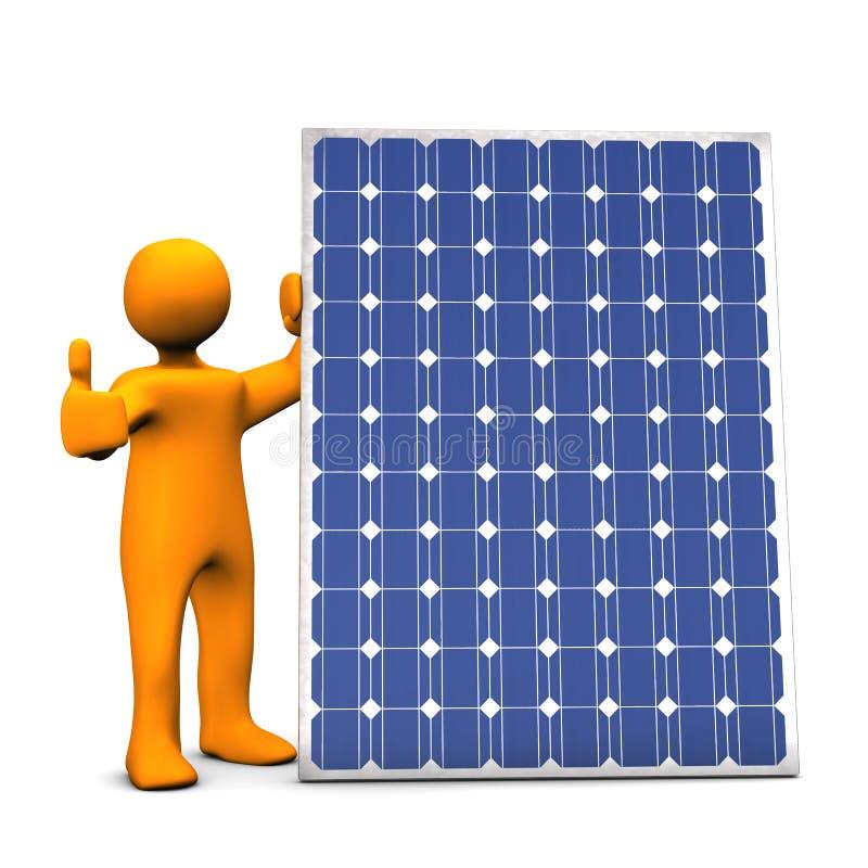 Figure with solar panel stock illustration