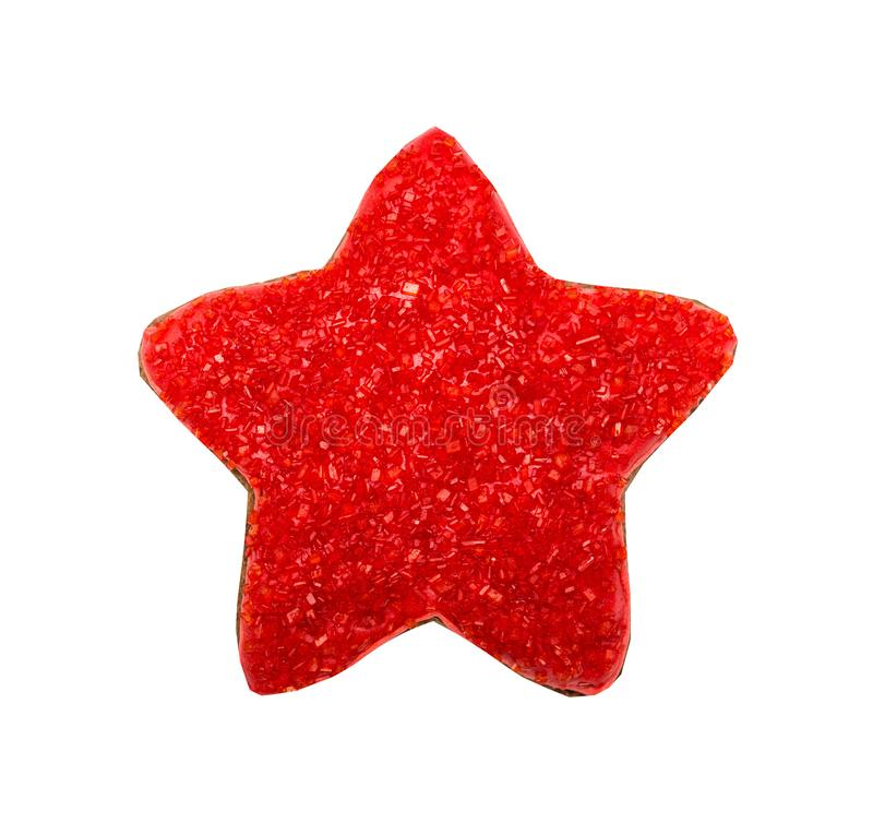 Figure star, gingerbread, covered red sugar. royalty free stock photos