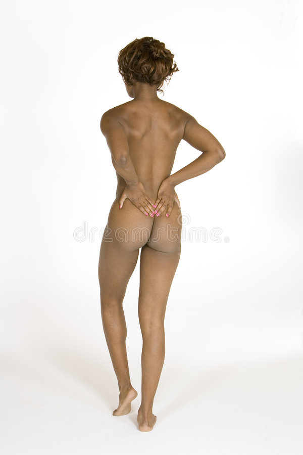 Download Beautiful African American Woman Posing Nude On White Background Stock Image - Image: 1413061