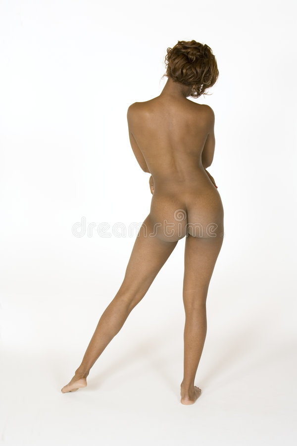 Download Beautiful African American Woman Posing Nude On White Background Stock Image - Image: 1417557