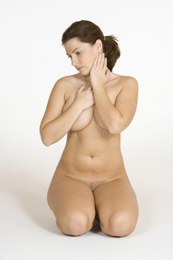 Beautiful Caucasian Woman Posing Nude On White Background Royalty Free Stock Photos