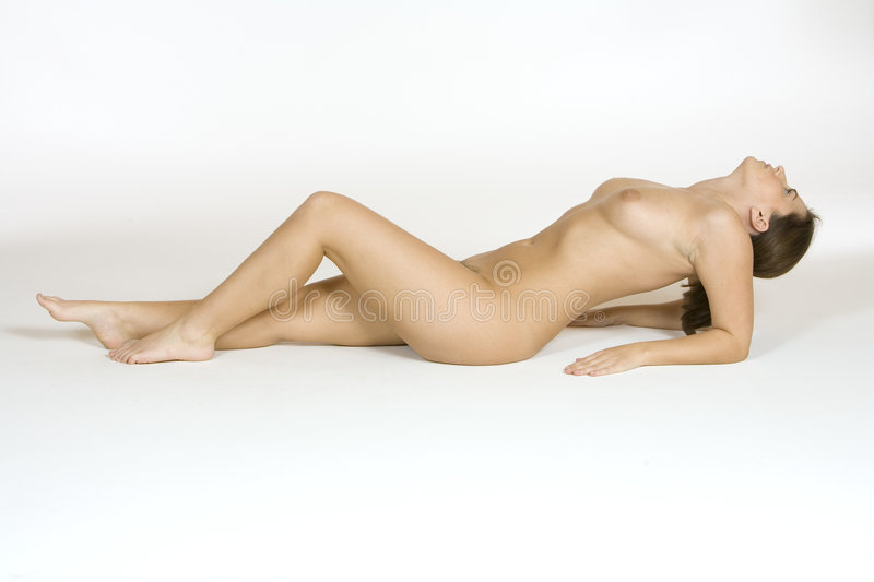 Download Beautiful Caucasian Woman Posing Nude On White Background Stock Image - Image: 1421263