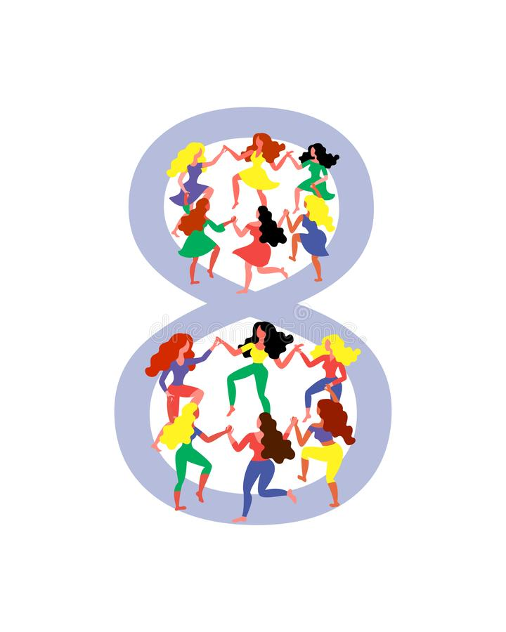 Figure 8 surrounded by dancing women. Women dance in figure 8. Vector illustration for Women`s Day stock illustration