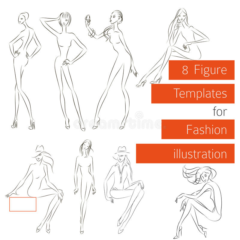 figure templates for fashion illustration stock illustration