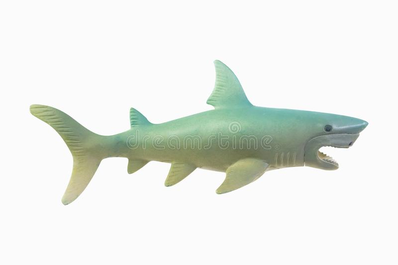 Figure toy white shark isolated closeup image stock images