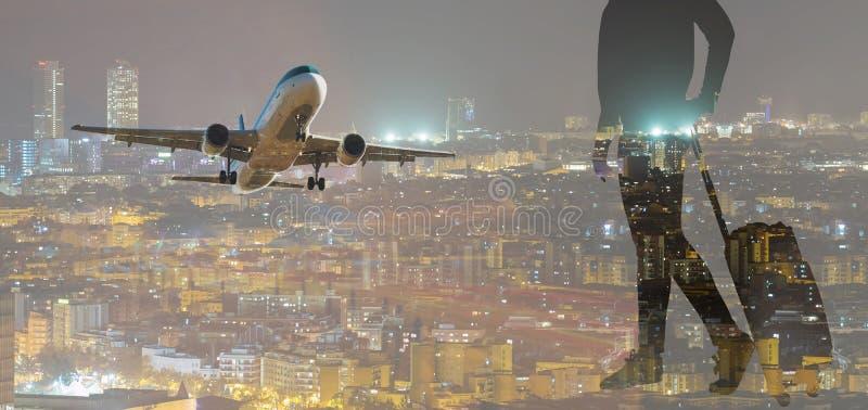 Figure of traveler against background. Outline of traveler figure with baggage with means of transport stock photo