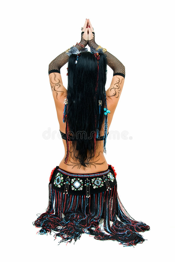 Figure of tribal dancer. Alluring lines of sitting tribal dancer on white royalty free stock images