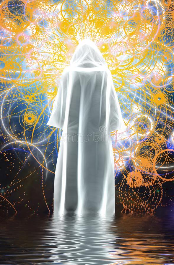 Figure in white cloak. Figure in bright white cloak stands on water vector illustration