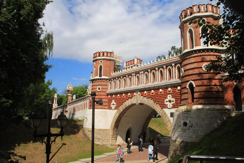 Figured bridge in Tsaritsino, Moscow, Russia royalty free stock photos