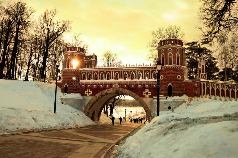 Figured bridge in Tsaritsyno. Moscow stock photo