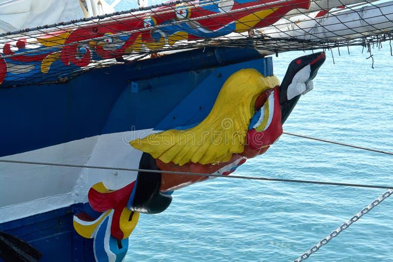 Figurehead on sailing wooden ship stock photography