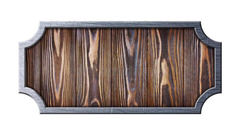 Figurerad träskylt i skrapad metallram royaltyfri bild