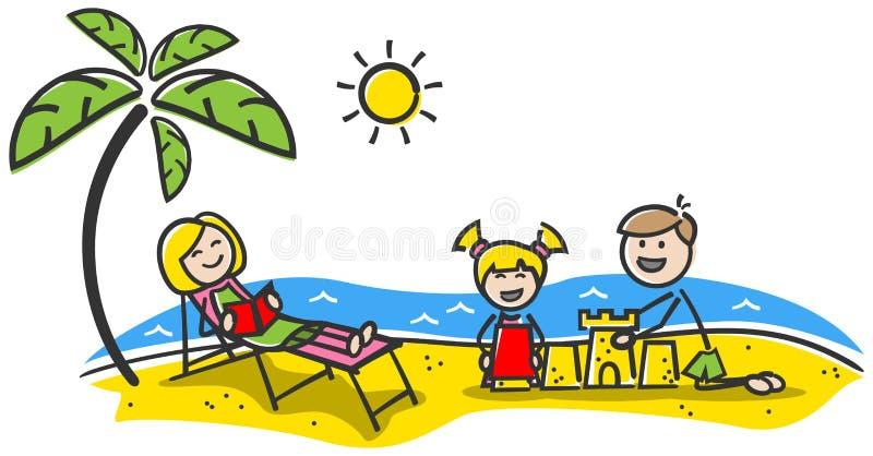 Figurerar den lyckliga familjen för sommarferie på strandpinnen teckningen isolerade vektorn royaltyfri illustrationer