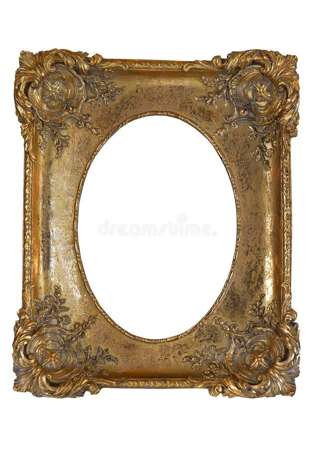 Figurerat brons ramen för fotoet på isolat fotografering för bildbyråer